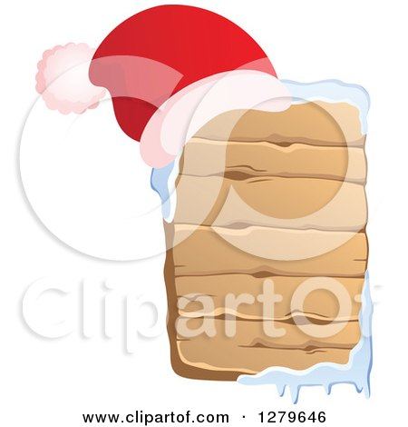 Clipart of a Santa Hat on a Vertical Wooden Christmas Sign with Snow - Royalty Free Vector Illustration by visekart