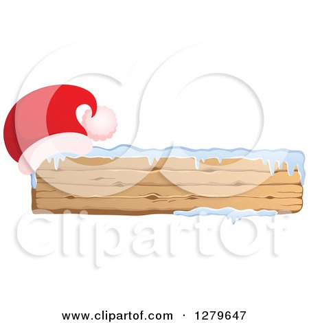 Clipart of a Santa Hat on a Long Wooden Christmas Sign with Snow - Royalty Free Vector Illustration by visekart