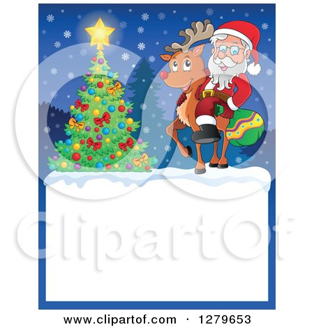 Clipart of Santa Claus and Rudolph by a Christmas Tree over a Blank Sign in the Snow - Royalty Free Vector Illustration by visekart