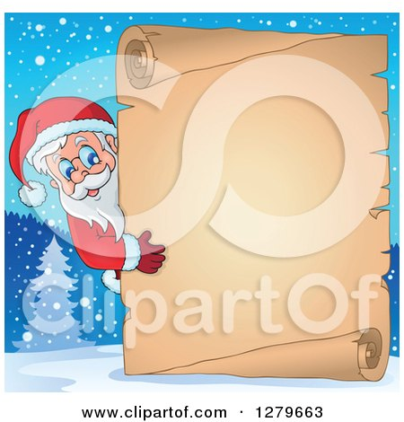 Clipart of Santa Claus Looking Around a Christmas Vintage Parchment Page Scroll in a Winter Background - Royalty Free Vector Illustration by visekart