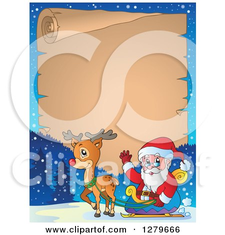 Santa Claus And A Reindeer In Front Of Christmas Vintage Parchment Page Scroll Winter Landscape