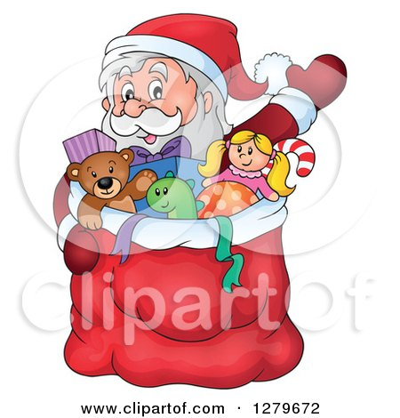 Clipart of Santa Claus Waving Behind a Full Sack of Gifts and Toys - Royalty Free Vector Illustration by visekart