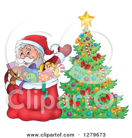 Clipart of Santa Claus Waving Behind a Full Sack Next to a Christmas Tree in a Winter Village - Royalty Free Vector Illustration by visekart