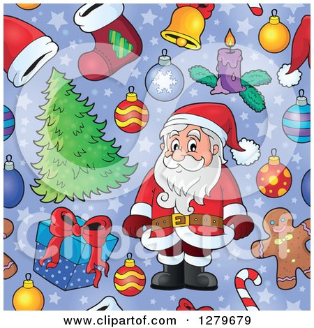 Clipart of a Seamless Christmas Background Pattern of Santa, Gifts, Ornaments and Trees on Purple - Royalty Free Vector Illustration by visekart