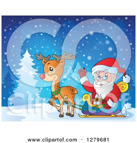 Clipart of Santa Claus Waving and Riding in a Sleigh Pulled by Rudolph the Reindeer in a Winter Landscape - Royalty Free Vector Illustration by visekart