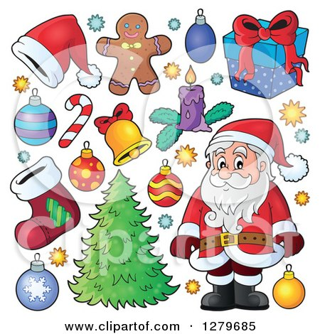 Clipart of a Black and White Santa Claus, a Christmas Tree, and Decorations - Royalty Free Vector Illustration by visekart