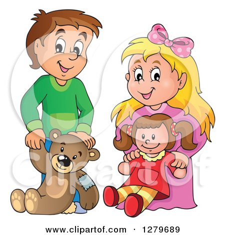 Clipart of a Happy Brunette Caucasian Boy and Blond Girl Holding a Teddy Bear and Doll - Royalty Free Vector Illustration by visekart