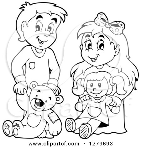 Clipart of a Happy Black and White Boy and Blond Girl ...Little Girl With Teddy Bear Black And White