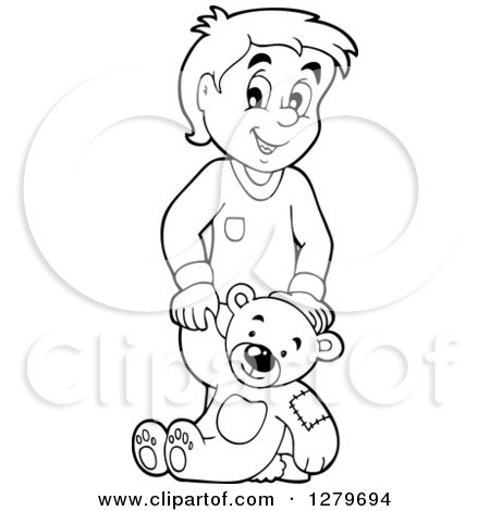 Clipart Of A Happy Black And White Boy Holding A Teddy Bear