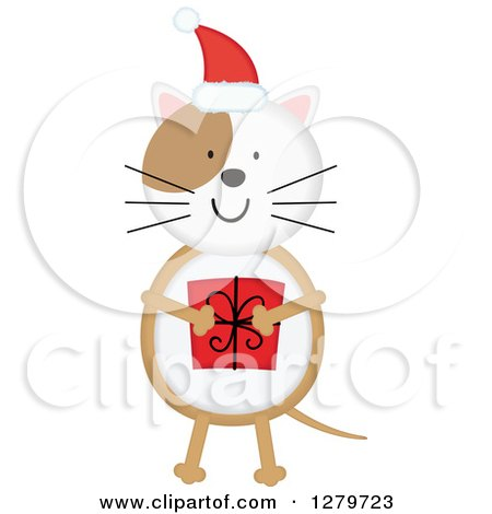 Clipart of a Happy Christmas Cat Wearing a Santa Hat and Holding a Gift - Royalty Free Vector Illustration by Vector Tradition SM
