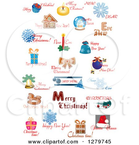 Clipart of Christmas Text and Icon Designs 2 - Royalty Free Vector Illustration by Vector Tradition SM