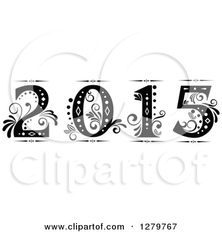 Clipart of a Black and White Retro Ornate Floral Styled New Year ...