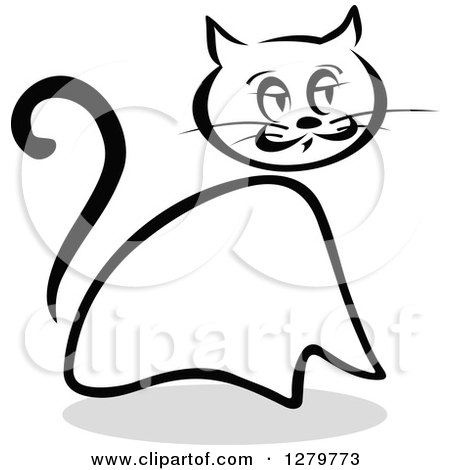 Clipart of a Black and White Sketched Sitting Cat and a Gray Shadow 4 - Royalty Free Vector Illustration by Vector Tradition SM
