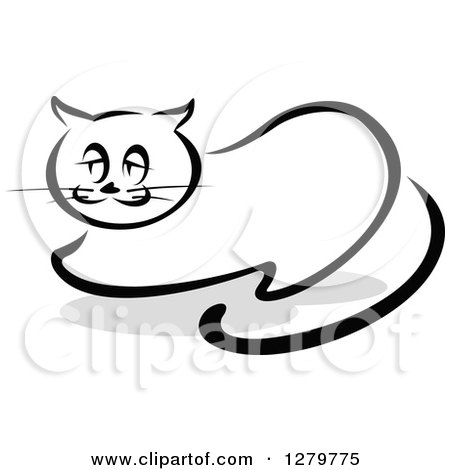 Clipart of a Black and White Sketched Resting Cat and a Gray Shadow - Royalty Free Vector Illustration by Vector Tradition SM