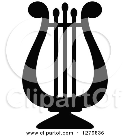 Clipart of a Black Silhouetted Lyre - Royalty Free Vector Illustration by Vector Tradition SM