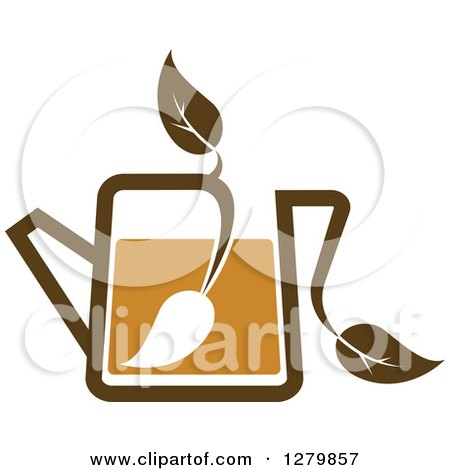 Clipart of a Leafy Brown Tea Pot 10 - Royalty Free Vector Illustration by Vector Tradition SM