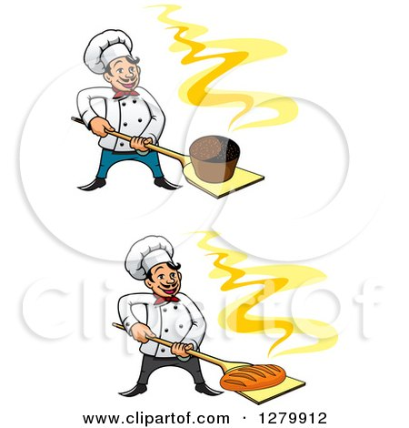 Clipart of Happy Cartoon Male Chefs Holding Fresh Hot Breads on Peels 2 - Royalty Free Vector Illustration by Vector Tradition SM