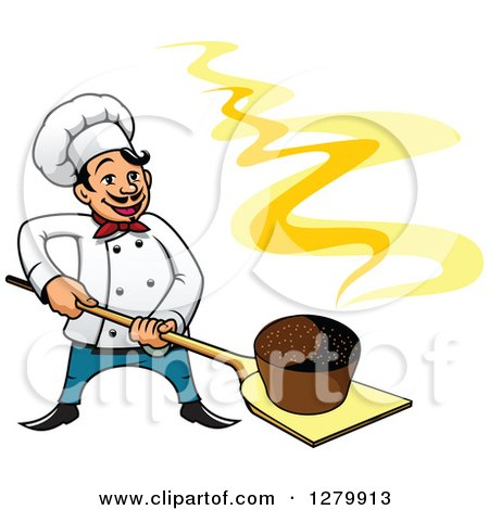 Clipart of a Happy Cartoon Male Chef with a Fresh Hot Rye Bread on a Peel - Royalty Free Vector Illustration by Vector Tradition SM
