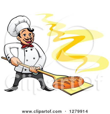 Clipart of a Happy Cartoon Male Chef with a Fresh Hot Bread Loaf on a Peel - Royalty Free Vector Illustration by Vector Tradition SM