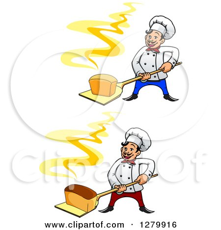 Clipart of Happy Cartoon Male Chefs Holding Fresh Hot Breads on Peels - Royalty Free Vector Illustration by Vector Tradition SM