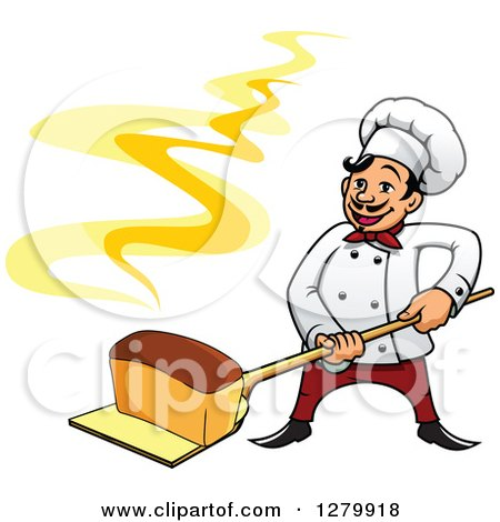 Clipart of a Happy Cartoon Male Chef Holding a Fresh Hot Bread Loaf on a Peel - Royalty Free Vector Illustration by Vector Tradition SM