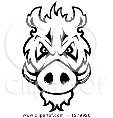 Clipart of a Black and White Aggressive Boar Head - Royalty Free Vector Illustration by Vector Tradition SM