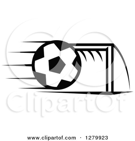 Clipart of a Black and White Flying Soccer Ball and Goal Net - Royalty Free Vector Illustration by Vector Tradition SM