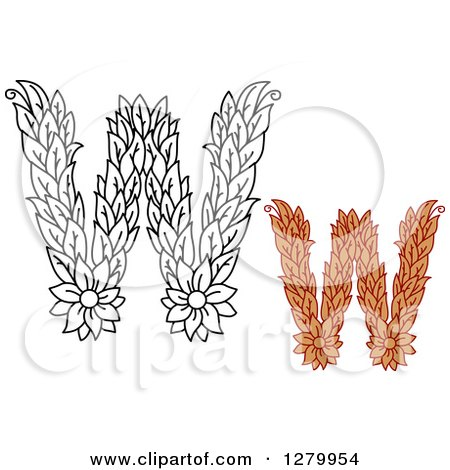 Clipart of Black and White and Colored Floral Capital Letter W Designs - Royalty Free Vector Illustration by Vector Tradition SM