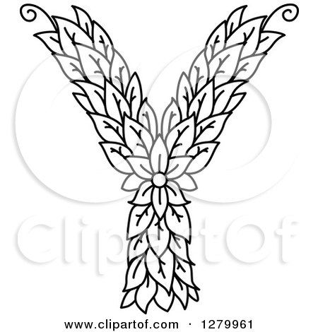Clipart Of A Black And White Floral Capital Letter Y With A Flower