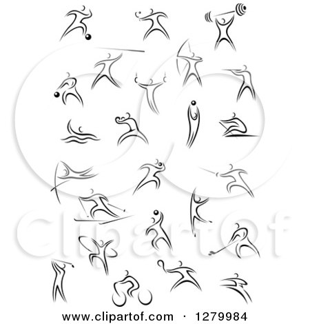 Clipart of Black and White Sporty Stick People - Royalty Free Vector Illustration by Vector Tradition SM