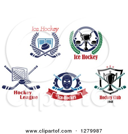 Clipart of Ice Hockey Sports Designs and Text 2 - Royalty Free Vector Illustration by Vector Tradition SM