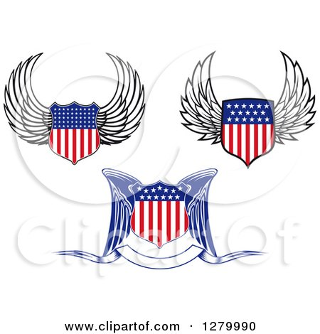 Clipart of Winged American Flag Shields - Royalty Free Vector Illustration by Vector Tradition SM