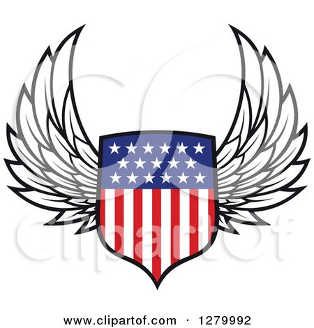 Clipart of a Winged American Flag Shield 2 - Royalty Free Vector Illustration by Vector Tradition SM