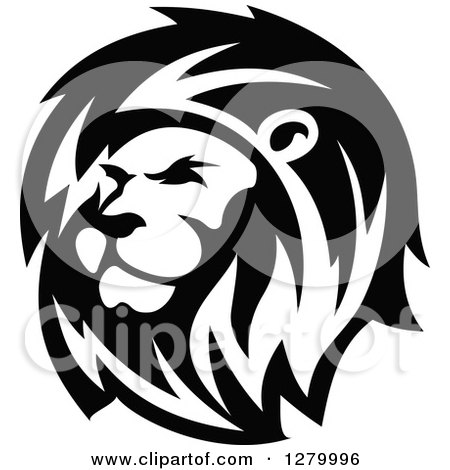Black And White Lion Head Clipart