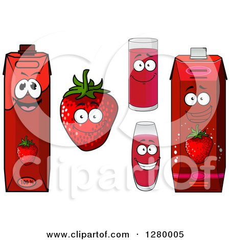 Clipart of a Smiling Strawberry Character and Juice - Royalty Free Vector Illustration by Vector Tradition SM