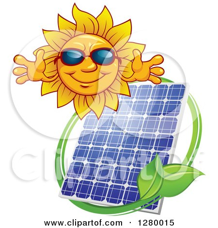 Clipart of a Welcoming Sun Wearing Shade over a Solar Panel Encircled with a Swoosh and Green Leaves - Royalty Free Vector Illustration by Vector Tradition SM