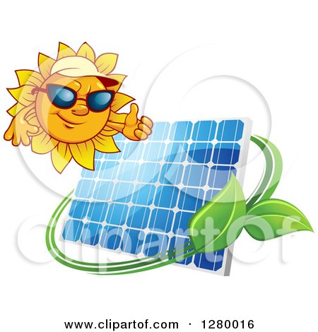 Clipart of a Sun Holding a Thumb up over a Solar Panel Encircled with a Swoosh and Green Leaves - Royalty Free Vector Illustration by Vector Tradition SM