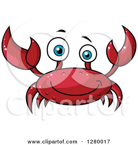 Clipart of a Cheerful Red Crab - Royalty Free Vector Illustration by Vector Tradition SM