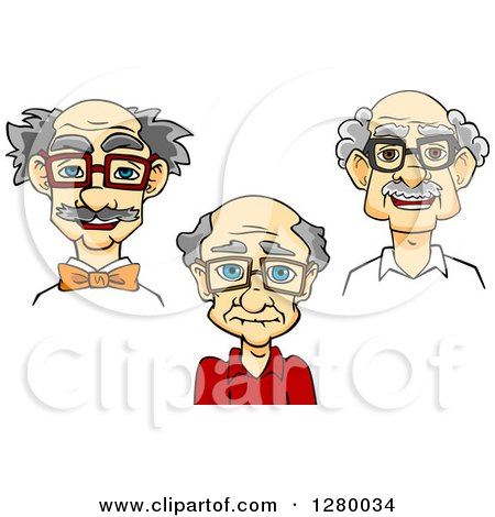 Cartoon of a Happy Smart Old Man Wearing Glasses - Royalty ...