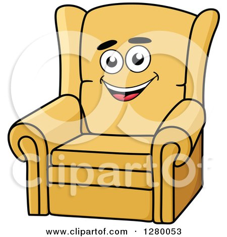 Clipart of a Happy Cartoon Yellow Arm Chair - Royalty Free Vector Illustration by Vector Tradition SM