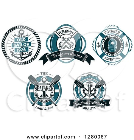 Clipart of Blue Nautical Designs with Text - Royalty Free Vector Illustration by Vector Tradition SM