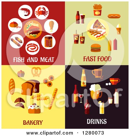 Clipart of Fish and Meat, Fast Food, Bakery and Drinks Designs - Royalty Free Vector Illustration by Vector Tradition SM