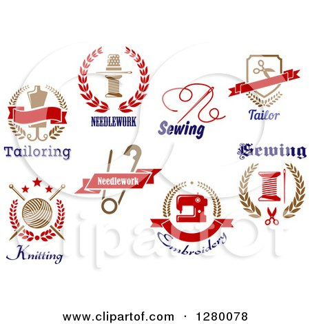 Clipart of Sewing, Embroidery and Tailoring Designs - Royalty Free Vector Illustration by Vector Tradition SM