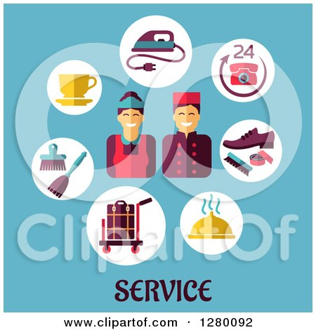Clipart of Happy Hotel Service Workers and Icons over Text on Blue - Royalty Free Vector Illustration by Vector Tradition SM
