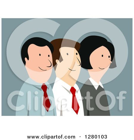 Clipart of a Happy Business Team of Men and Women on Blue - Royalty Free Vector Illustration by Vector Tradition SM