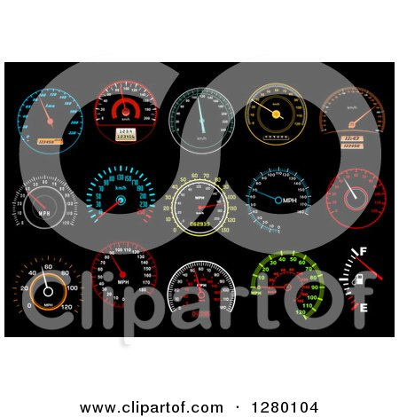Colorful Illuminated Speedometers on Black 2 Posters, Art Prints
