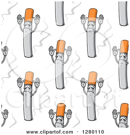 Clipart of a Seamless Background Design Pattern of Cigarettes Holding Their Hands up - Royalty Free Vector Illustration by Vector Tradition SM