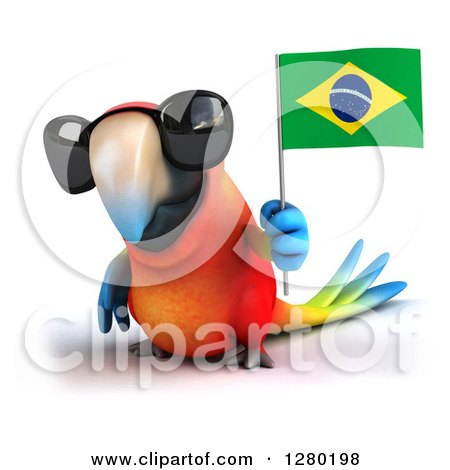 Clipart of a 3d Scarlet Macaw Parrot Wearing Sunglasses and Holding up a Brazilian Flag - Royalty Free Illustration by Julos