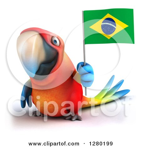 Clipart of a 3d Scarlet Macaw Parrot Holding up a Brazilian Flag - Royalty Free Illustration by Julos