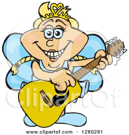 Clipart of a Happy Fairy Playing an Acoustic Guitar - Royalty Free Vector Illustration by Dennis Holmes Designs